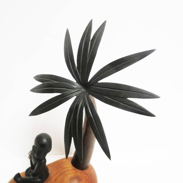 Austrian Art Deco Bronze and Wood Palm Tree Hagenauer Sculpture, African Theme For Sale