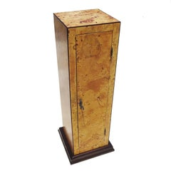 Early 20th Century Burled Wood Pedestal Cabinet in Refinished Condition