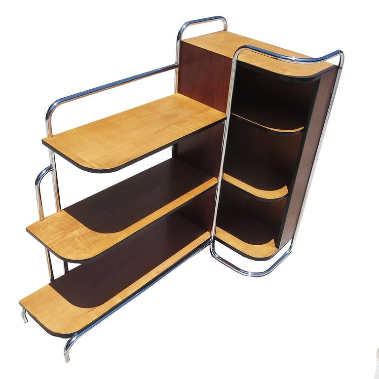 Streamlined Art Deco Corner Cabinet Book Shelf in Chrome and Wood For Sale
