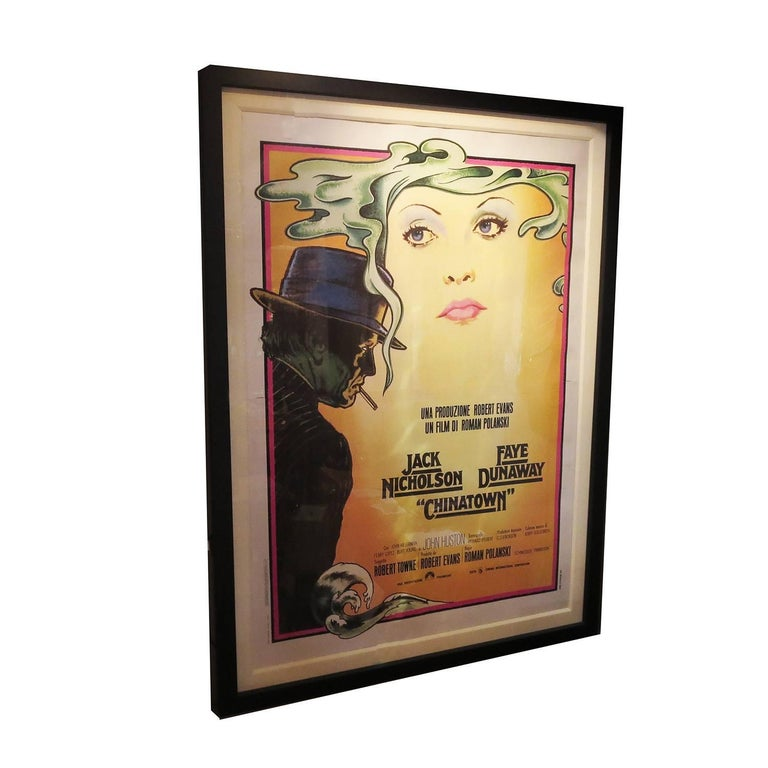 Massive Framed and Matted Chinatown Movie Poster, Italy, 1974 For Sale