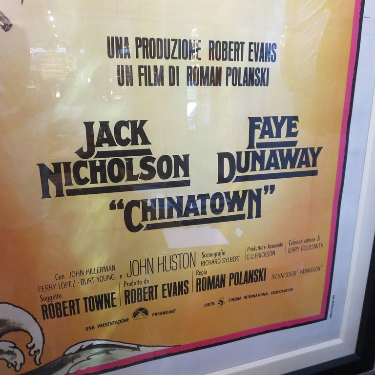 Italian Massive Framed and Matted Chinatown Movie Poster, Italy, 1974 For Sale