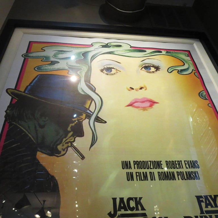 Massive Framed and Matted Chinatown Movie Poster, Italy, 1974 In Excellent Condition For Sale In Los Angeles, CA