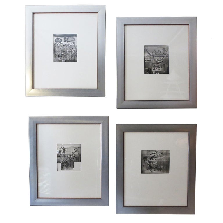 French Art Deco Framed Photos of SS Normandie Murals Signed Jean Dunand For Sale