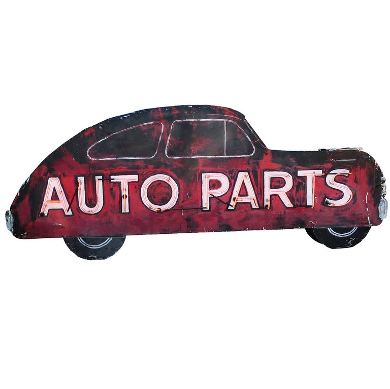 Double Sided Auto Parts Neon Sign in Original Paint For Sale