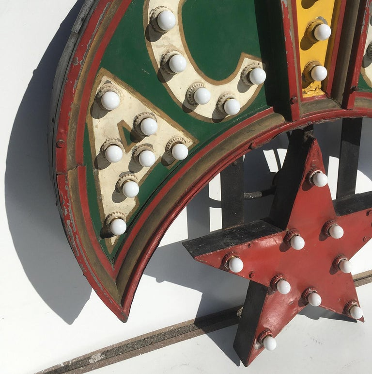 Folk Art ACCA Shriners Lighted Sign in Original Paint For Sale