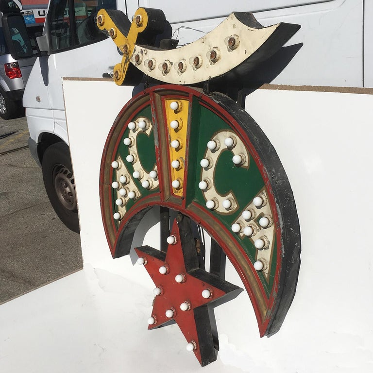 Mid-20th Century ACCA Shriners Lighted Sign in Original Paint For Sale