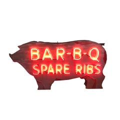 Bar - B - Q Neon Pig Sign with Original Paint