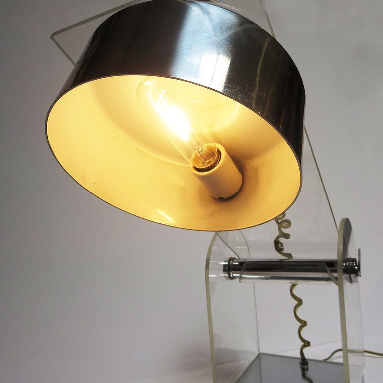 Lucite and Chrome Table or Desk Lamp For Sale 2