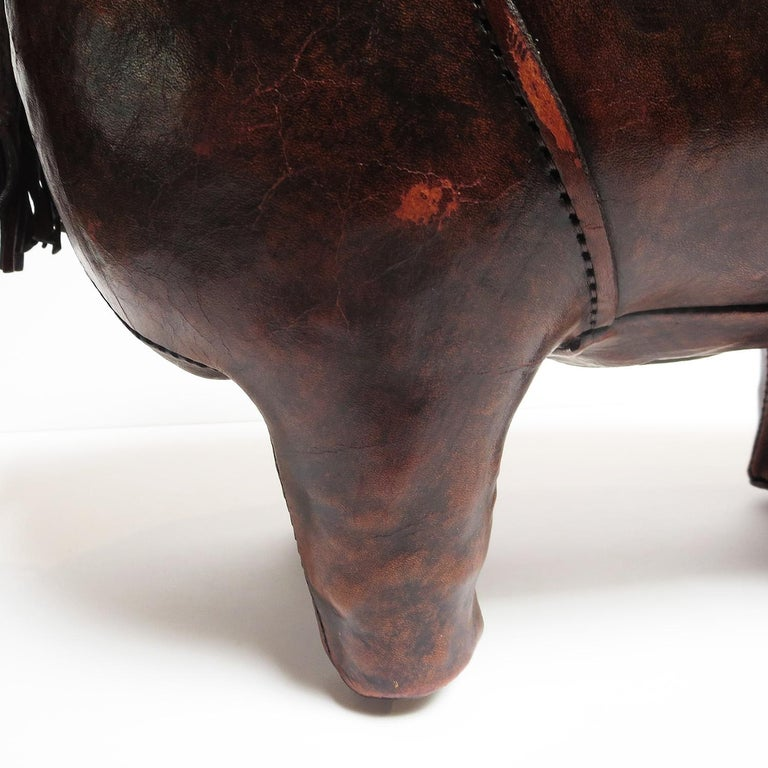 English Leather Rhinoceros Footstool by Dimitri Omersa For Sale
