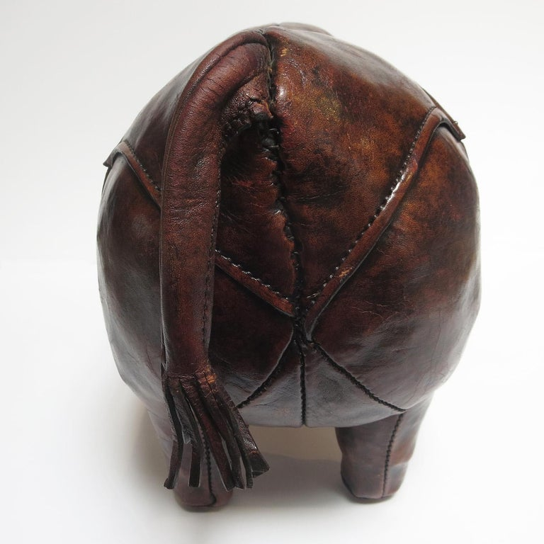 Leather Rhinoceros Footstool by Dimitri Omersa For Sale 1