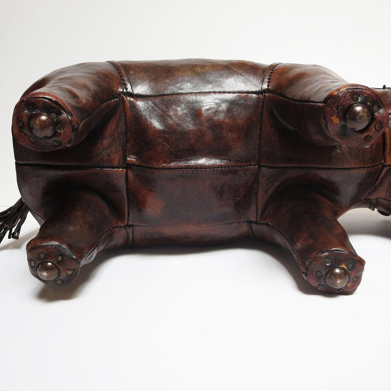 Leather Rhinoceros Footstool by Dimitri Omersa For Sale 2