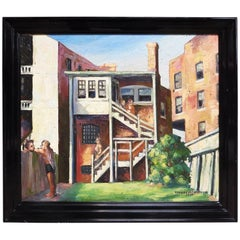 Original American Urban Scene Oil Painting by Thaddeus J. Haduch, 1947
