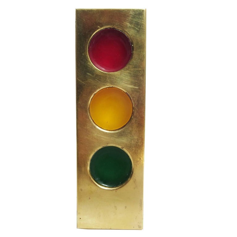 Art Deco Hagenauer Brass and Resin Stoplight Paper Weight