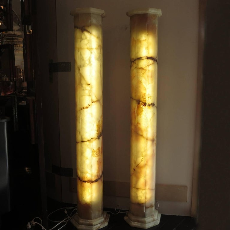 Matched Pair of Lighted Onyx Column Lamps For Sale at 1stdibs