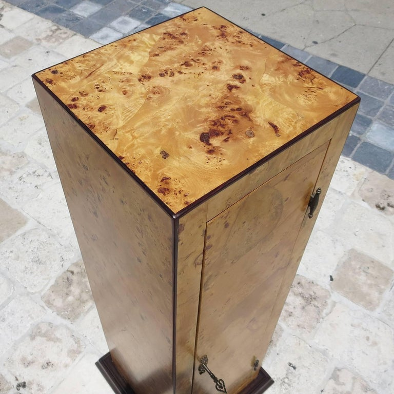 Art Deco Early 20th Century Burled Wood Pedestal Cabinet in Refinished Condition For Sale