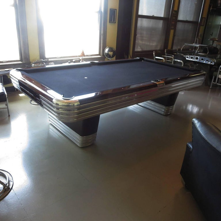 Aluminum Art Deco Refinished Brunswick Centennial Pool Table For Sale