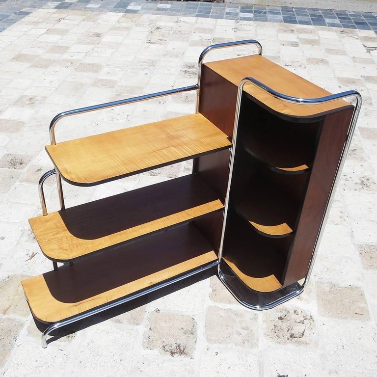 European Streamlined Art Deco Corner Cabinet Book Shelf in Chrome and Wood For Sale