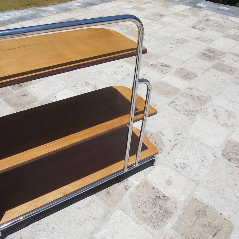 Streamlined Art Deco Corner Cabinet Book Shelf in Chrome and Wood For Sale 2