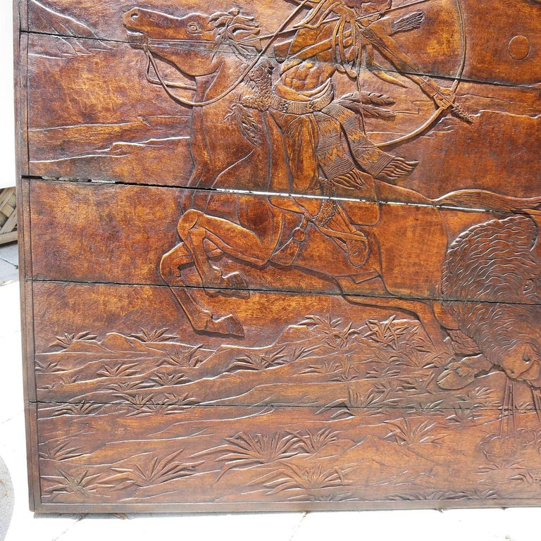 Native American Native Hunting Buffalo Carved Wooden Wall Panel Art by Leanora Oliver Nunn For Sale