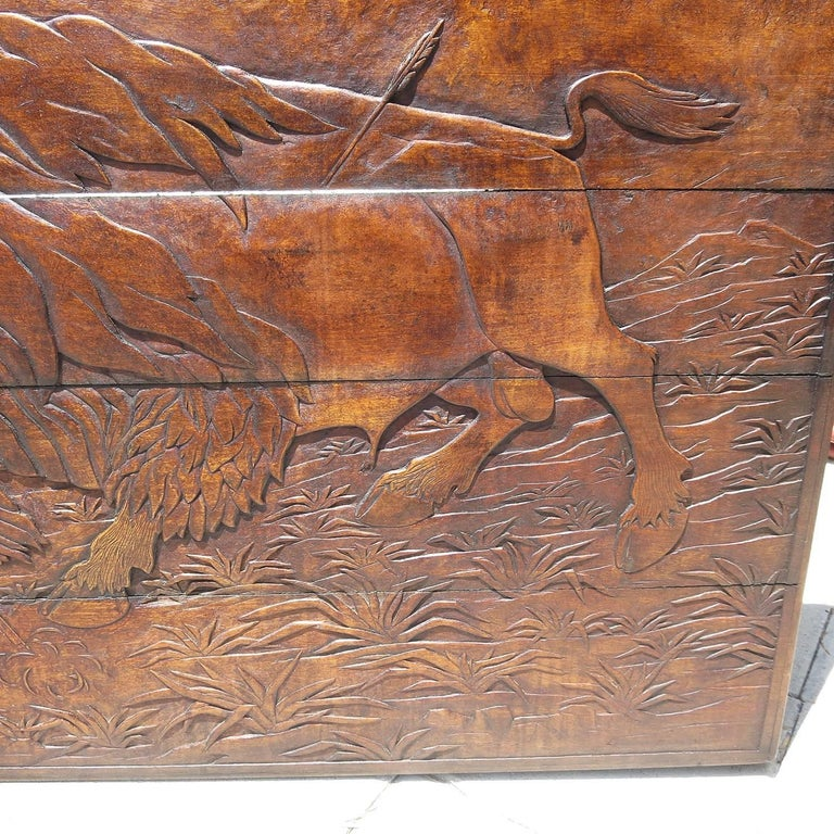 American Native Hunting Buffalo Carved Wooden Wall Panel Art by Leanora Oliver Nunn For Sale