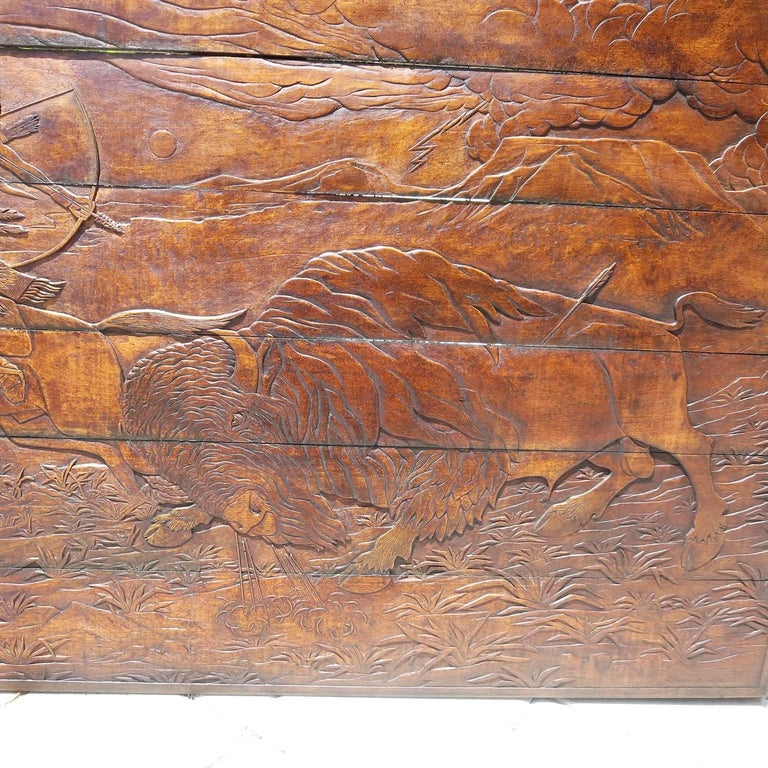 Native Hunting Buffalo Carved Wooden Wall Panel Art by Leanora Oliver Nunn For Sale 1