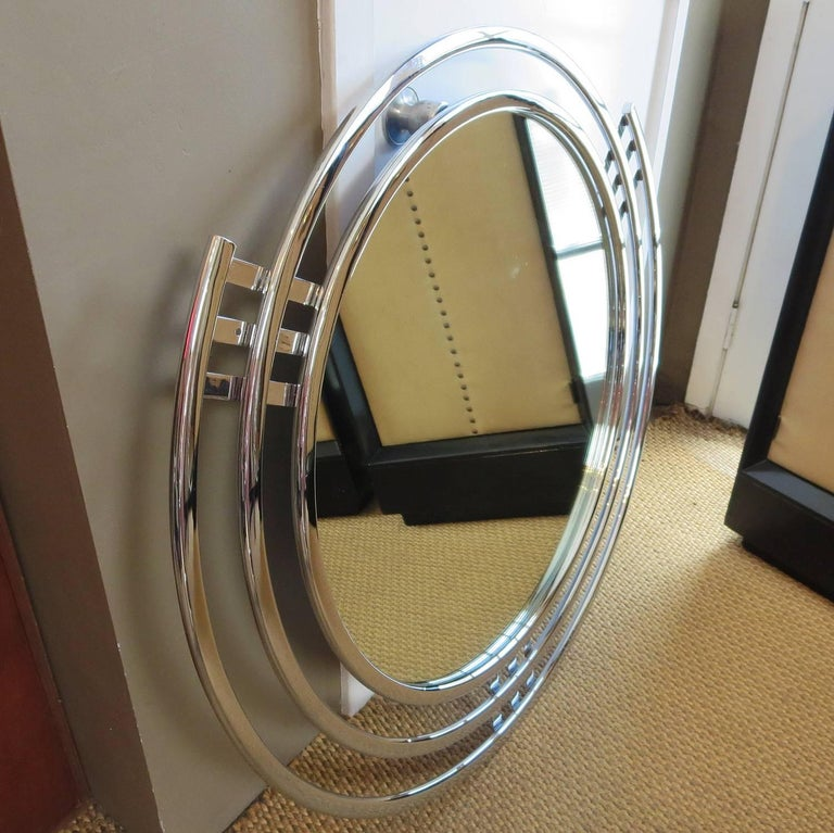 Plated Art Deco Triple Band Chrome Wall Mirror For Sale