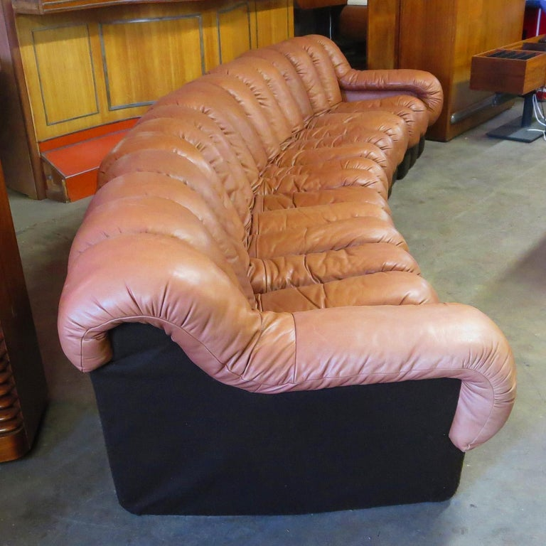 Mid-Century Modern De Sede DS-600 Non Stop Leather Sofa, 16 Sections For Sale