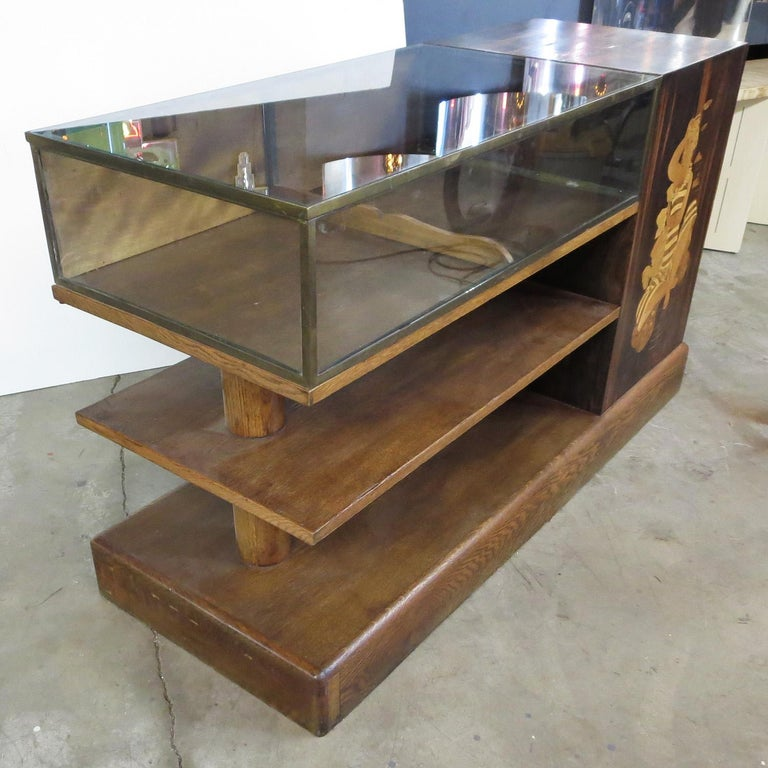 French Art Deco Showcase in Macassar Ebony and Inlaid Woods For Sale