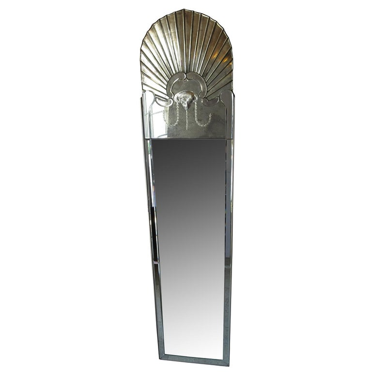 Mid-20th Century Full Length Dressing Mirror with Etched Rams Head Motif For Sale