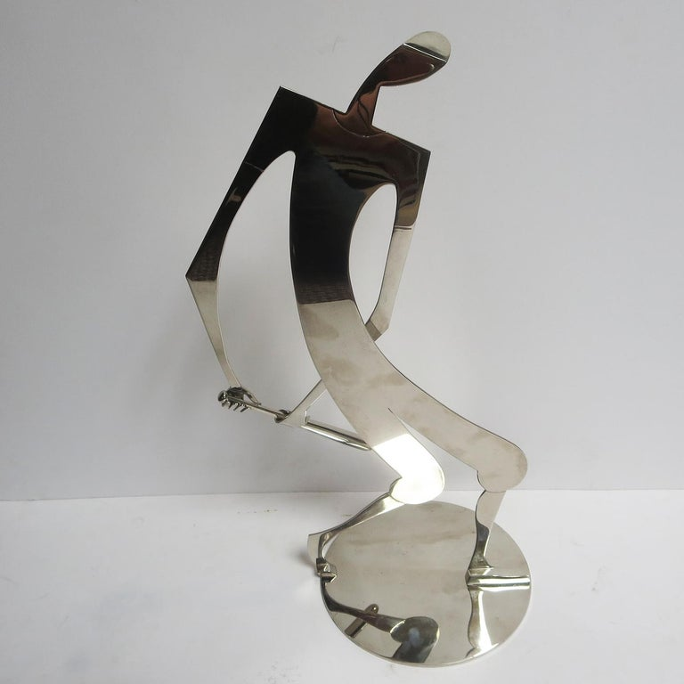Plated Franz Hagenauer Baseball Player Sculpture, Austrian, 1930s Art Deco For Sale