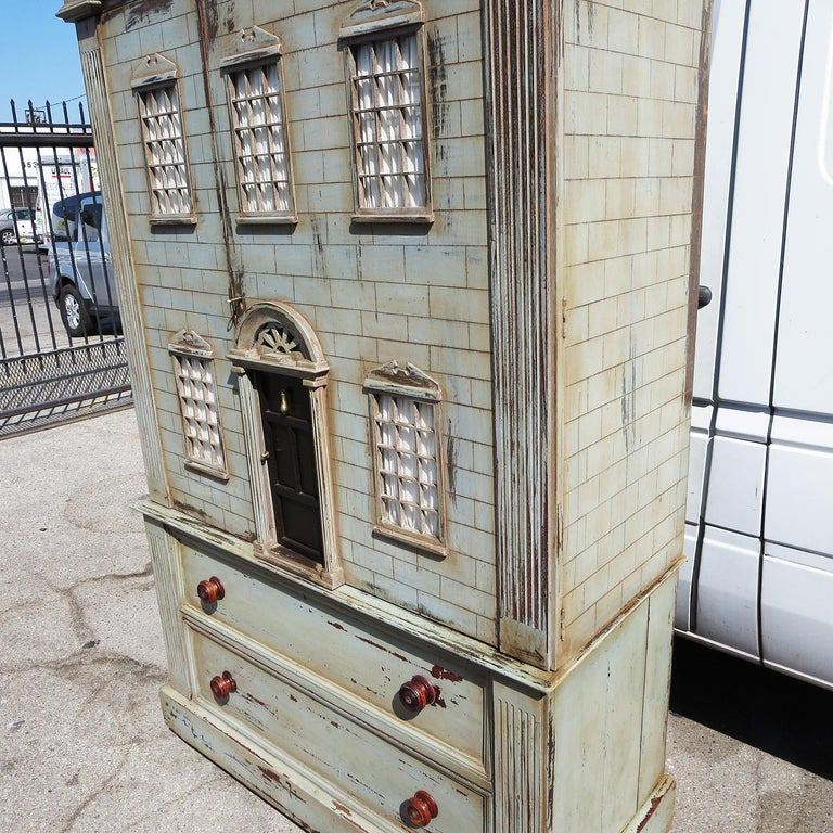 Hand-Painted Architectural Dresser Cabinet Combo - 3 Dimensional Mansion For Sale