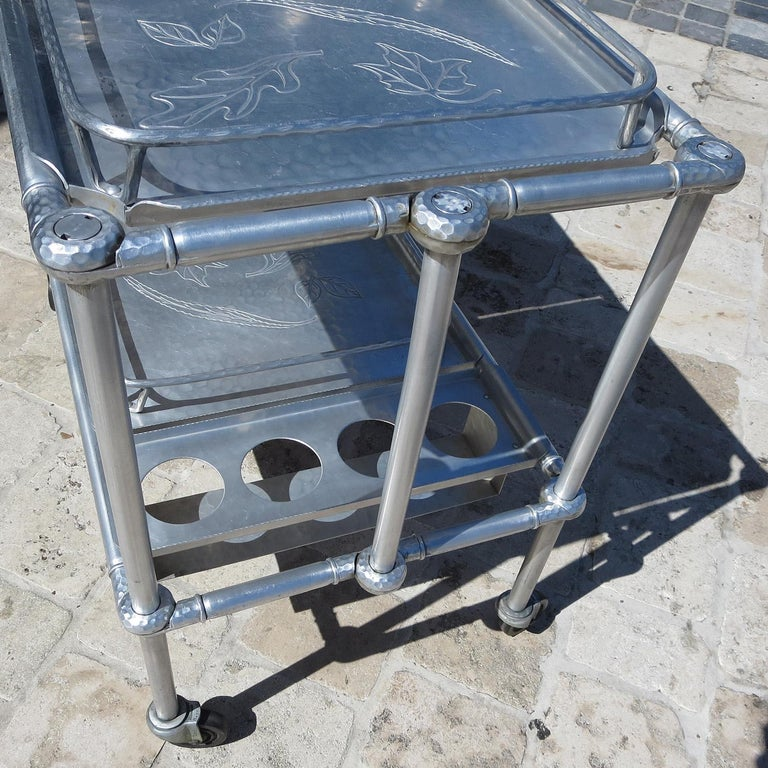 Russel Wright Hammered Aluminum Rolling Cart for Everlast Corp, 1940 For Sale 4