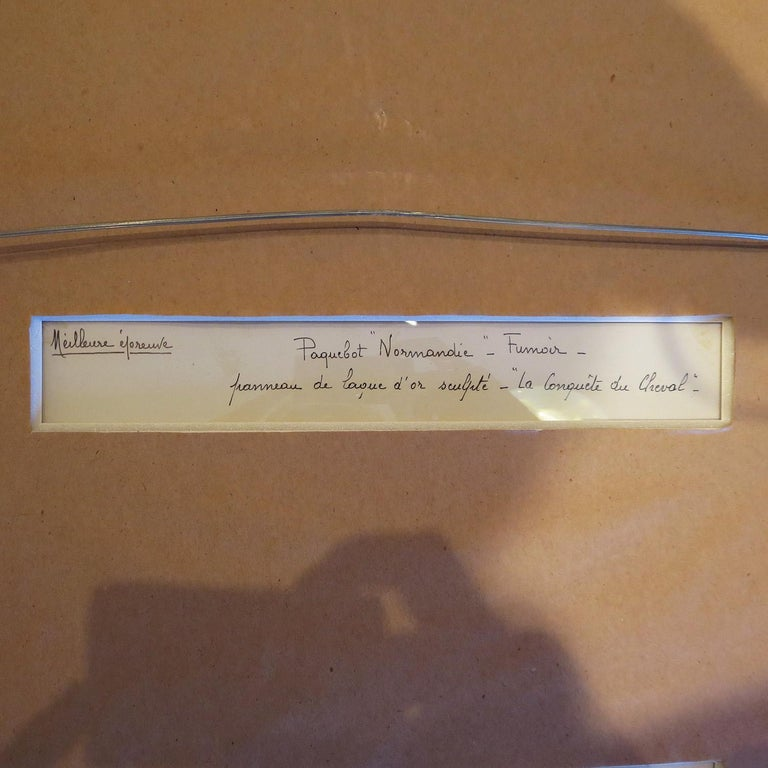 Art Deco Framed Photo from SS Normandie Signed Jean Dunand In Excellent Condition For Sale In Los Angeles, CA
