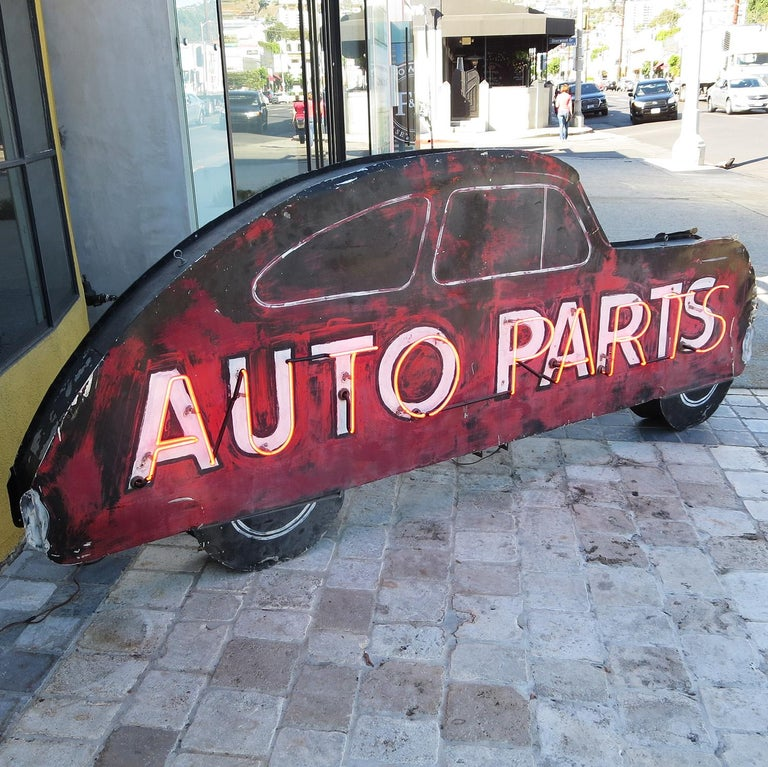 Art Deco Double Sided Auto Parts Neon Sign in Original Paint For Sale