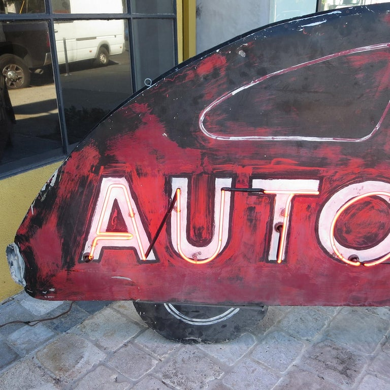 American Double Sided Auto Parts Neon Sign in Original Paint For Sale