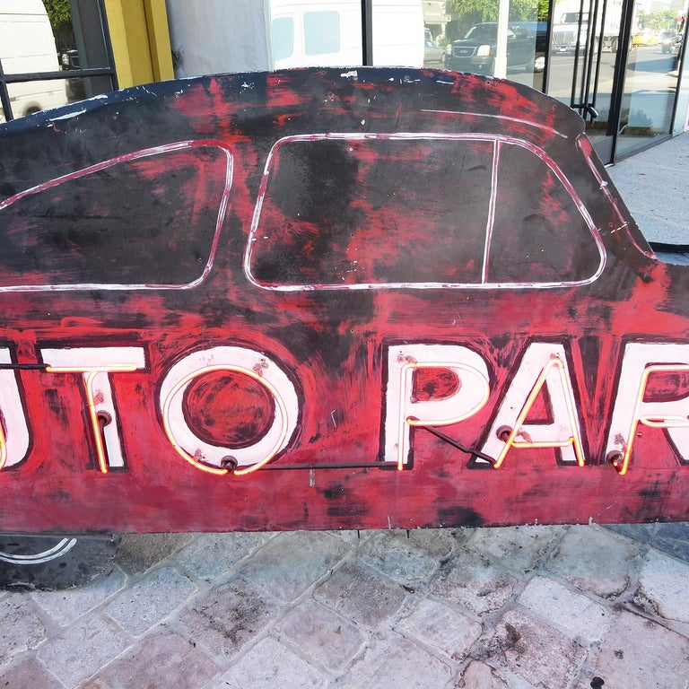 Hand-Painted Double Sided Auto Parts Neon Sign in Original Paint For Sale