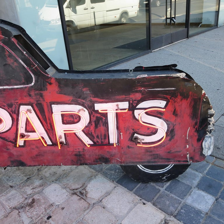 Double Sided Auto Parts Neon Sign in Original Paint In Distressed Condition For Sale In Los Angeles, CA