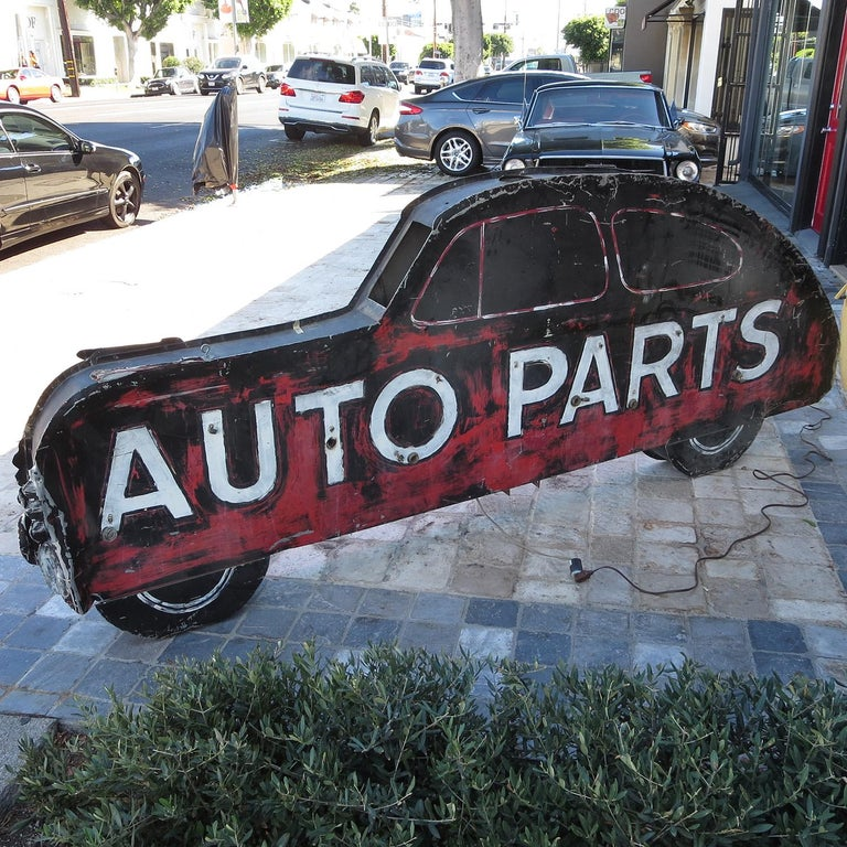 Mid-20th Century Double Sided Auto Parts Neon Sign in Original Paint For Sale