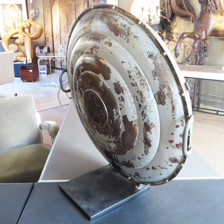 Industrial Large Table Mounted Parabolic Mirror by G.E. For Sale