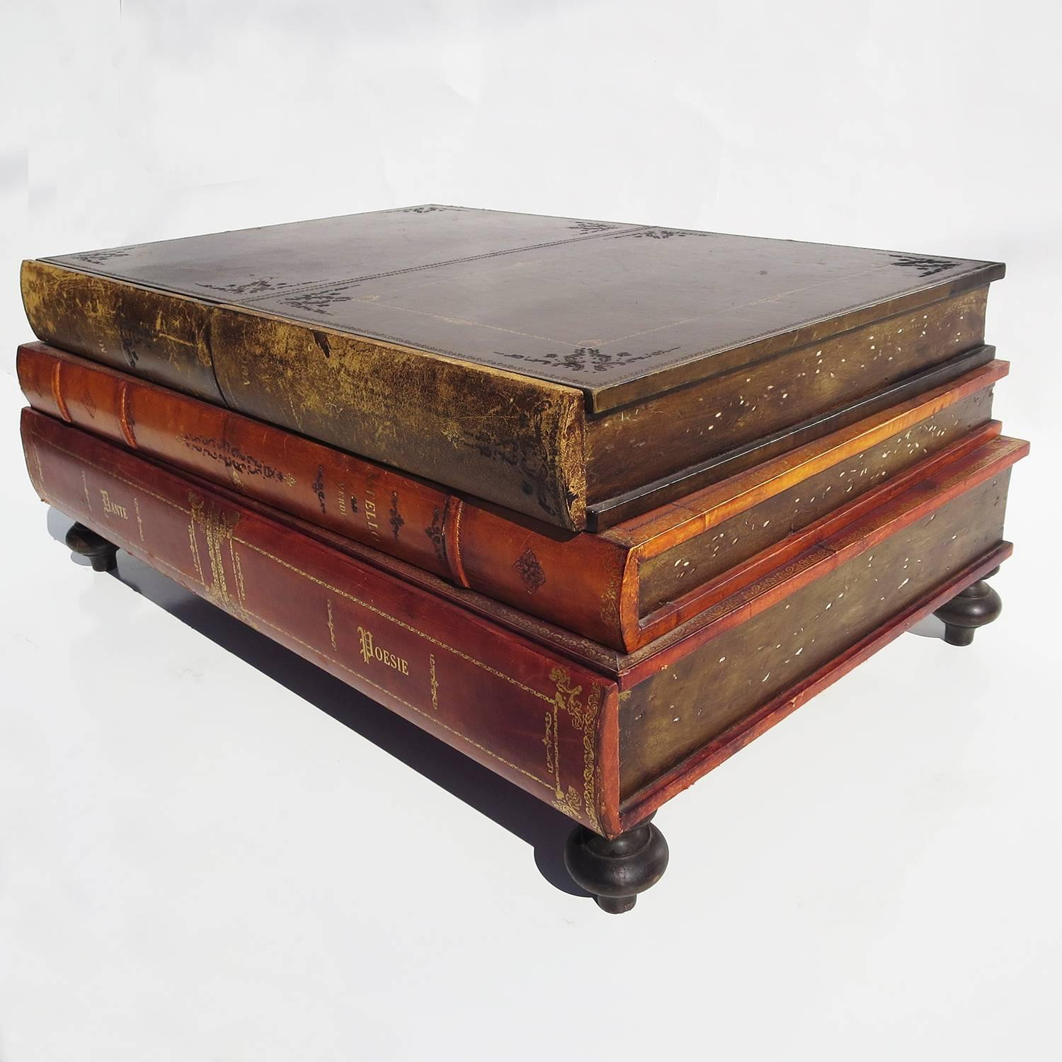 Book Furniture: 1960s Italian Leather Books Coffee Table At 1stdibs