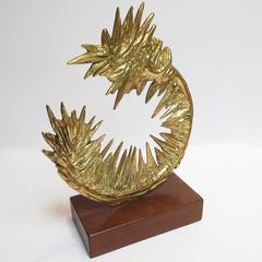 Mid Century Modern Brass Sculpture on Walnut Base