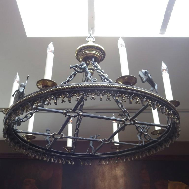 Bronze Monkey Band Chandelier By Maitland Smith At 1stdibs