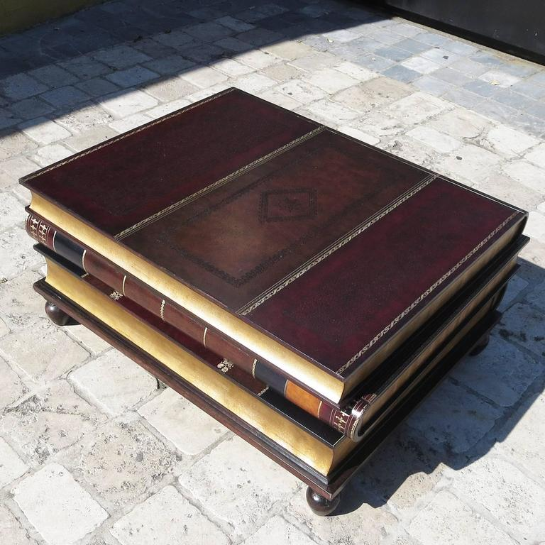 Coffee Table Leather Drawers: Leather Stacked Books Coffee Table By Maitland-Smith At