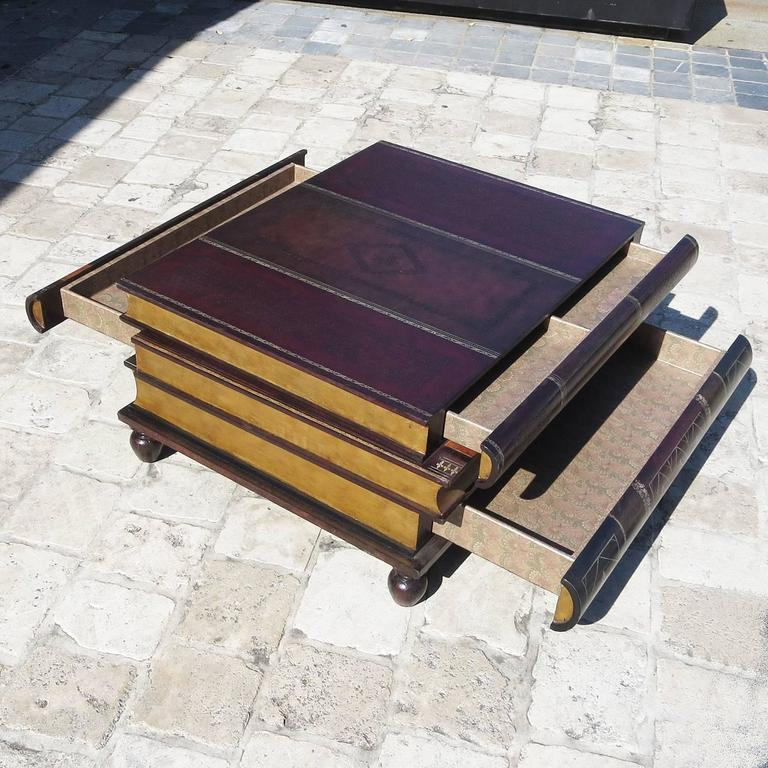 Beaux Arts Leather Stacked Books Coffee Table By Maitland Smith For