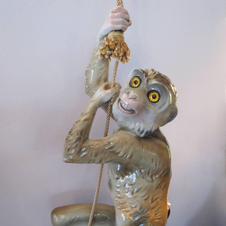 Hanging Monkey Lamp: Capodimonte Glazed Ceramic Hanging Monkey Lamp At 1stdibs