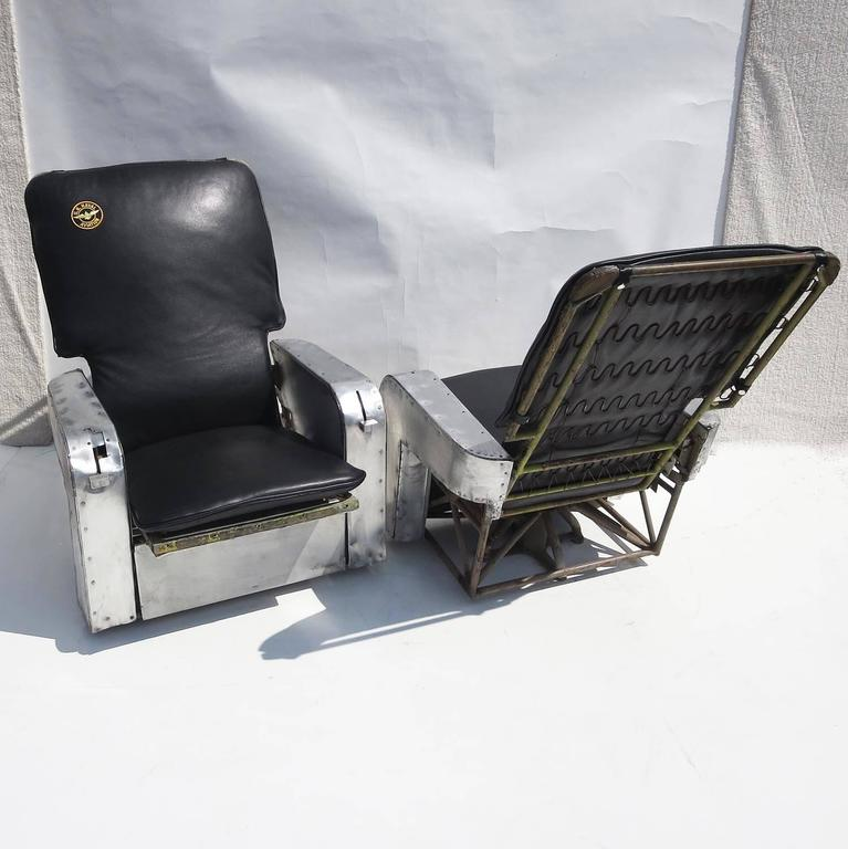 Aircraft Chairs In Leather And Aluminum At 1stdibs