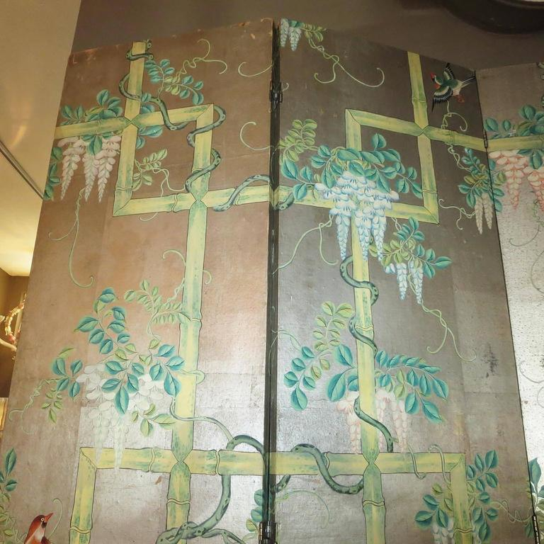 Chinese 19th Century Four-Panel Painted Screen of Birds and Bamboo For Sale