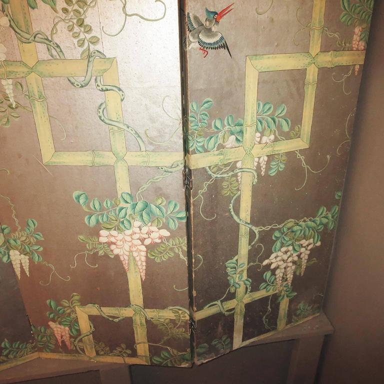 19th Century Four-Panel Painted Screen of Birds and Bamboo In Good Condition For Sale In Los Angeles, CA