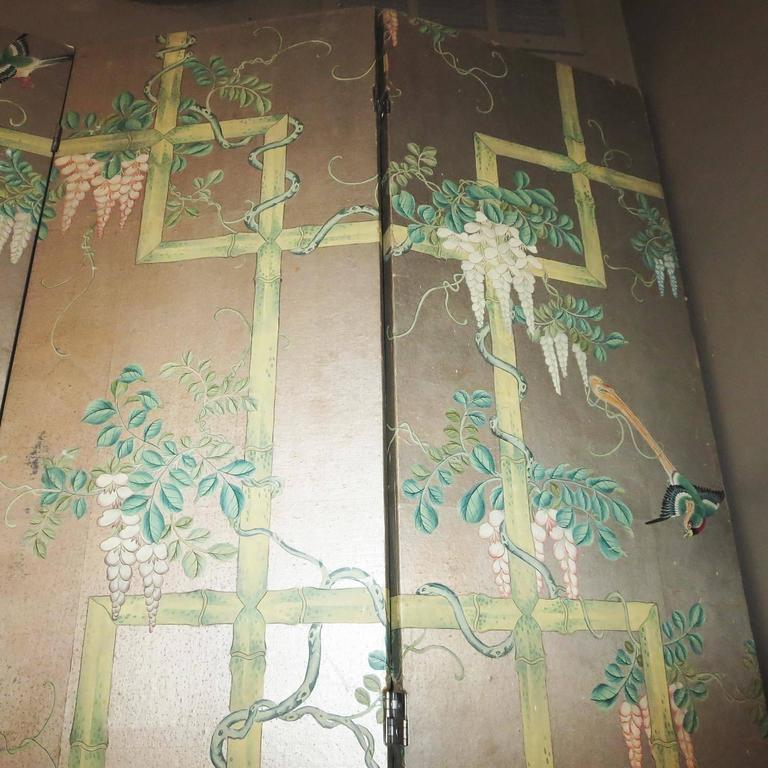 18th Century 19th Century Four-Panel Painted Screen of Birds and Bamboo For Sale