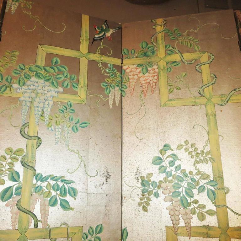 19th Century Four-Panel Painted Screen of Birds and Bamboo For Sale 1